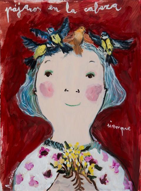painting, eva armisen, pájaros en la cabeza, pintura