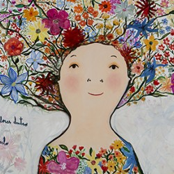 Pintura exposición Home Corea llena de flores